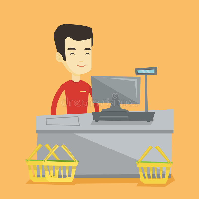 Cashier standing at the checkout in supermarket. Young asian cashier standing at the checkout in supermarket. Cashier working at checkout in a supermarket royalty free illustration