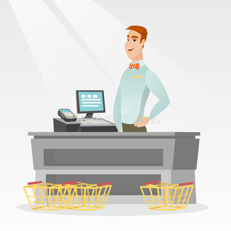 Cashier standing at the checkout in a supermarket. Young caucasian cashier standing at the checkout with cash register in the supermarket. Smiling cashier vector illustration