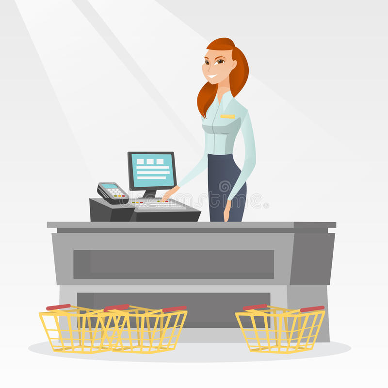Cashier standing at the checkout in a supermarket. Young caucasian cashier standing at the checkout with cash register in the supermarket. Smiling cashier stock illustration