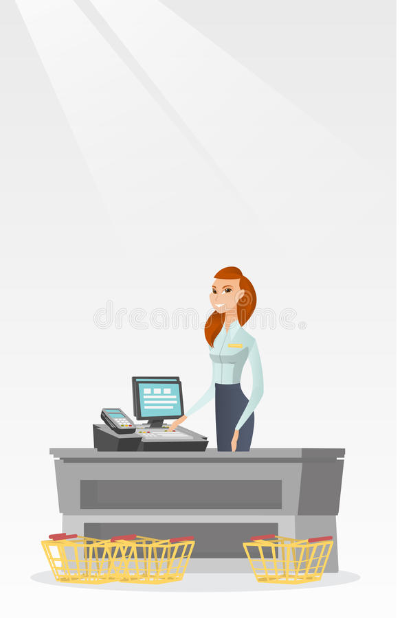 Cashier standing at the checkout in a supermarket. Young caucasian cashier standing at the checkout with cash register in the supermarket. Smiling cashier royalty free illustration