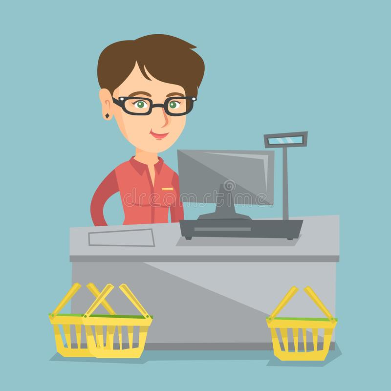 Cashier standing at the checkout in a supermarket. Young caucasian cashier standing at the checkout with a cash register in the supermarket. Smiling cashier stock illustration