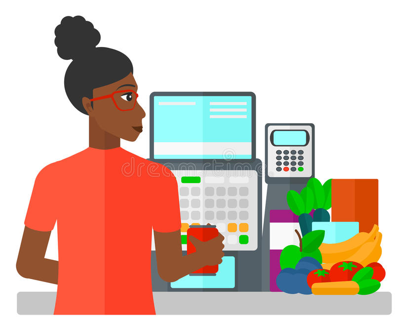 Cashier at supermarket checkout. A cashier at supermarket counter vector flat design illustration isolated on white background stock illustration