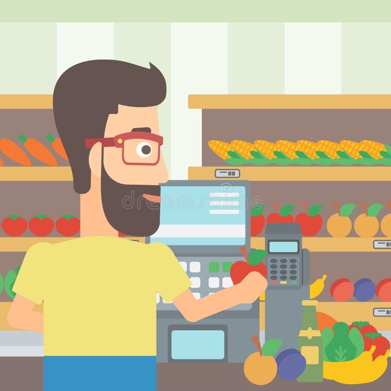 Cashier at supermarket checkout. vector illustration