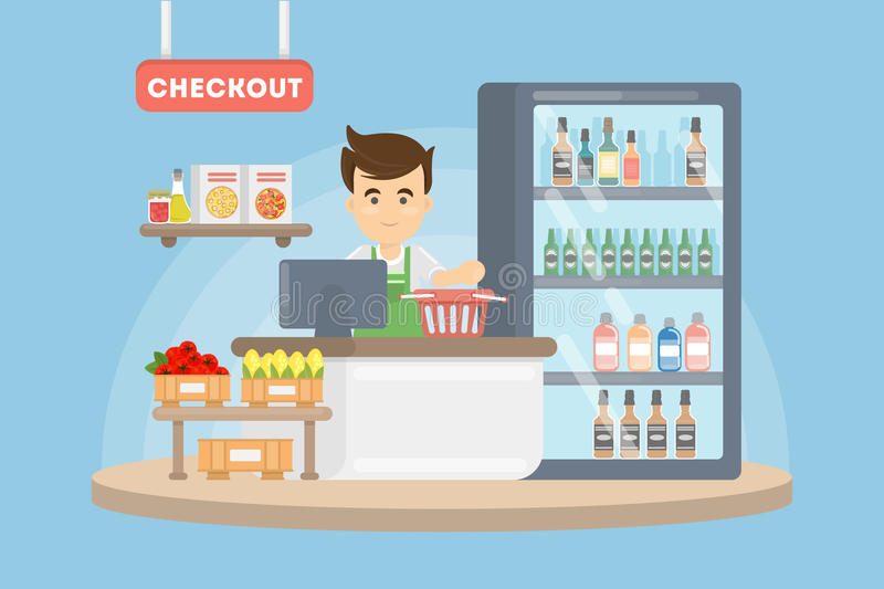 Cashier in supermarket. Checkout with man in uniform and grocery royalty free illustration