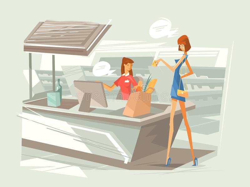 Cashier in supermarket at workplace. Girl pays for purchase at checkout counter. illustration vector illustration