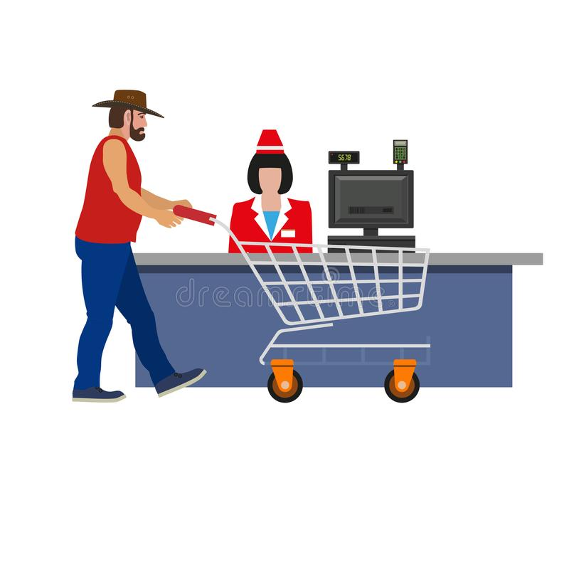 Cashier woman and shopper vector illustration