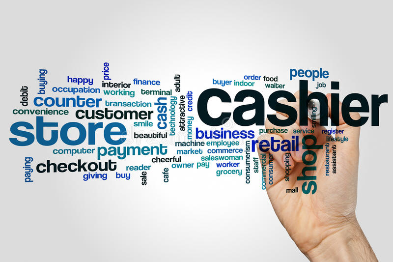 Cashier word cloud. Concept on grey background royalty free stock photo