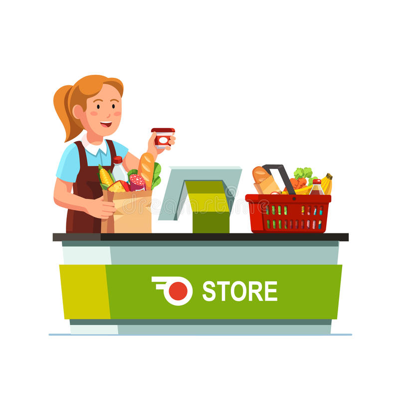 Cashier working at grocery store checkout counter. Cashier girl working at grocery store checkout counter. Sales clerk taking out goods from shopping food basket stock illustration