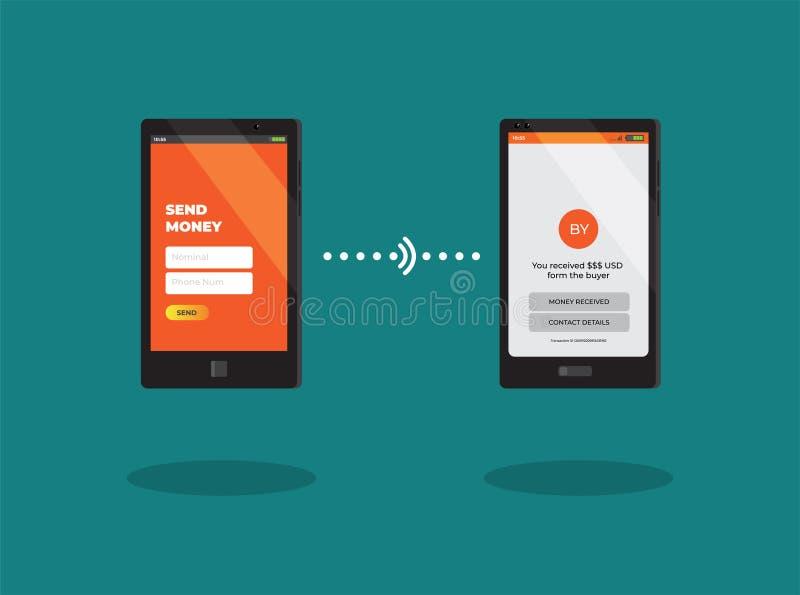Cashless Money Transfer by Smartphone Vector stock illustration