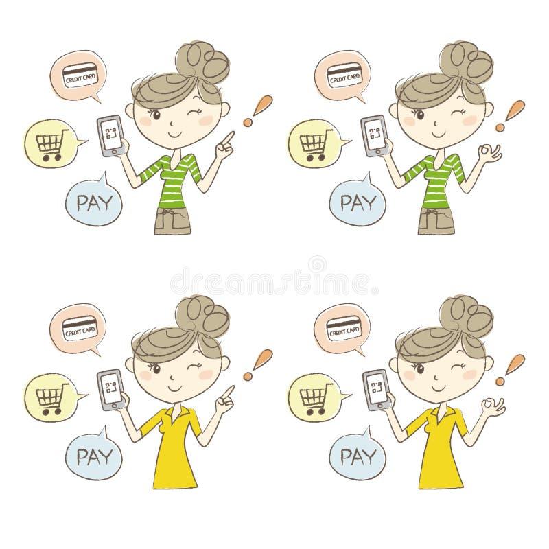 Cashless och Smartphone betalningbild, en kvinna som rymmer en smartphone royaltyfri illustrationer