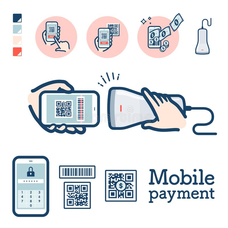 Cashless_QR code payment. Illustration of QR code payment by smartphone..It`s vector art so it`s easy to edit vector illustration