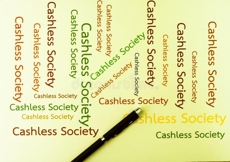 Cashless samhällebegreppslön med applikationmobiltelefonen ord royaltyfri fotografi