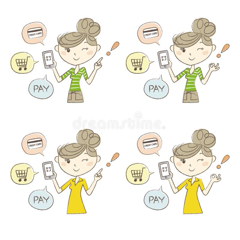 Cashless and Smartphone payment image, a woman holding a smartphone royalty free illustration