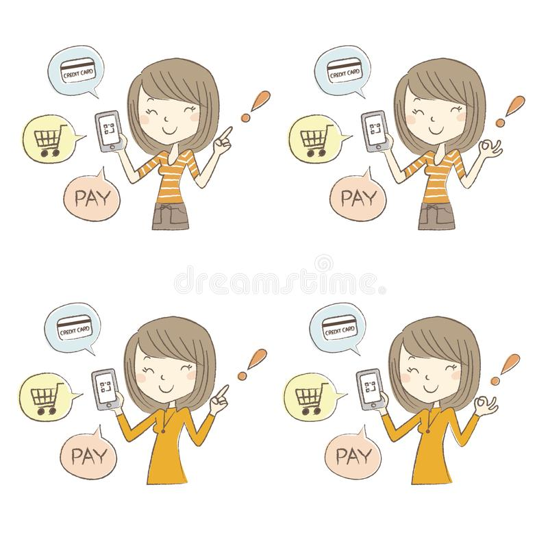 Cashless and Smartphone payment image, a woman holding a smartphone stock illustration