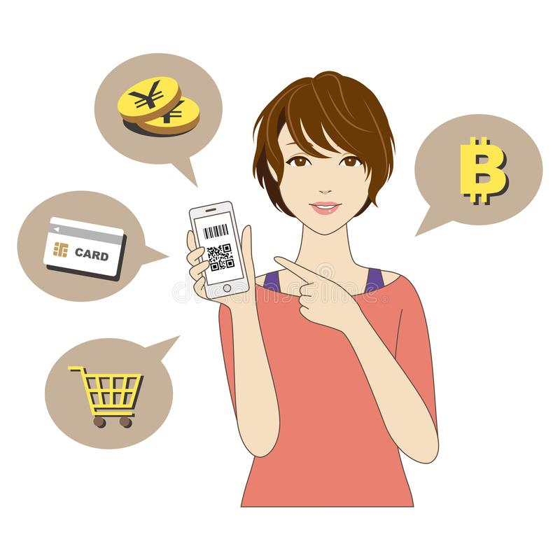 Cashless and Smartphone payment image, a woman holding a smartphone. On white background stock illustration