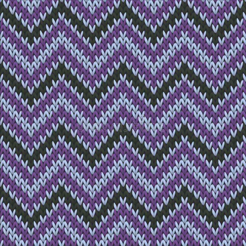 Cashmere chevron stripes knitting texture. Geometric seamless pattern. Scarf knitting pattern imitation. Fashionable seamless knitted pattern. Handicraft stock illustration