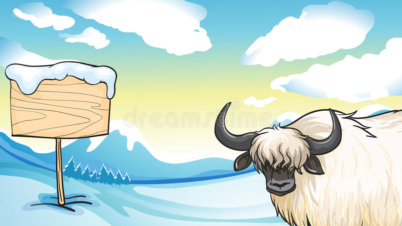 A cashmere on a snowy mountain with a wooden signboard. Illustration of a cashmere on a snowy mountain with a wooden signboard stock illustration