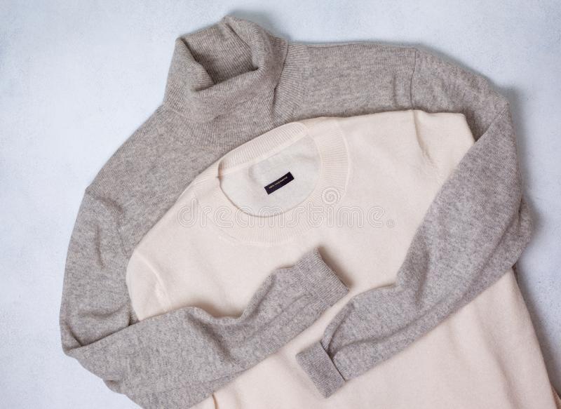 Cashmere sweaters. On a light background. view from above stock image