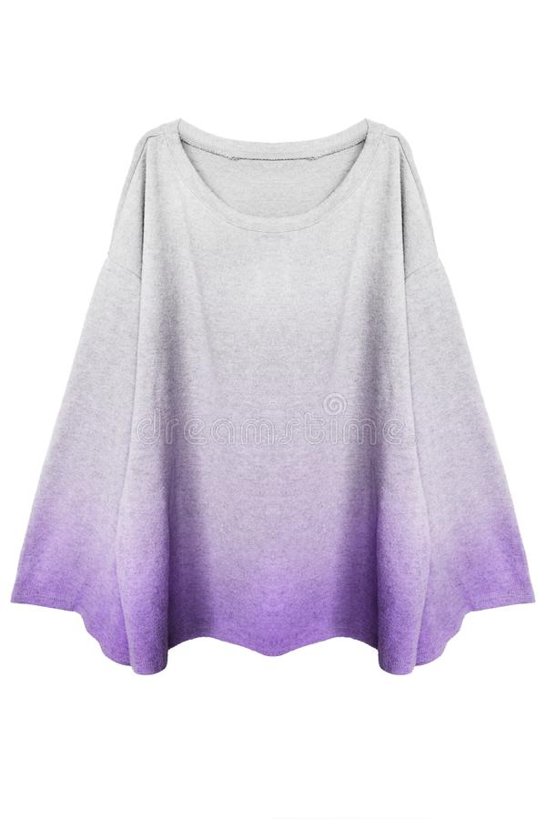 Cashmere cape isolated. Cashmere white and purple elegant cape on white background stock images