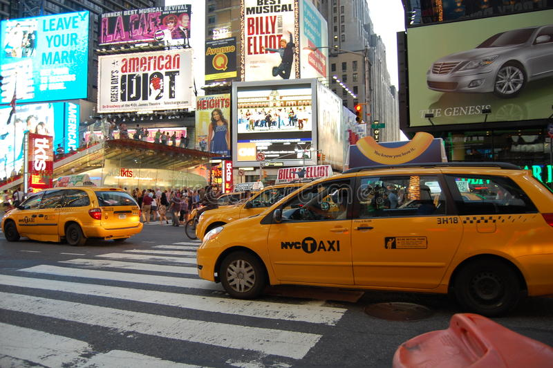 Casillas amarillas de New York City en Times Square foto de archivo libre de regalías