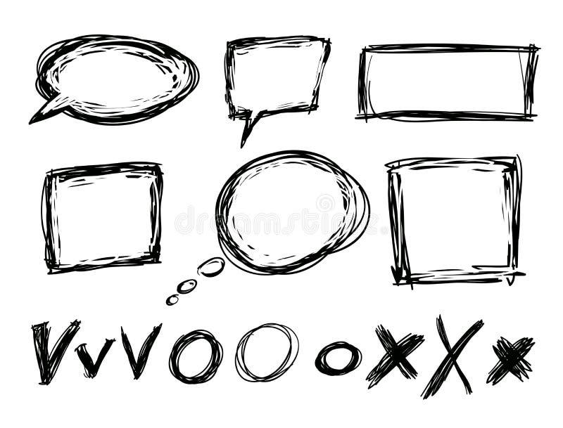 Casillas negras y rectángulos dibujados mano libre illustration