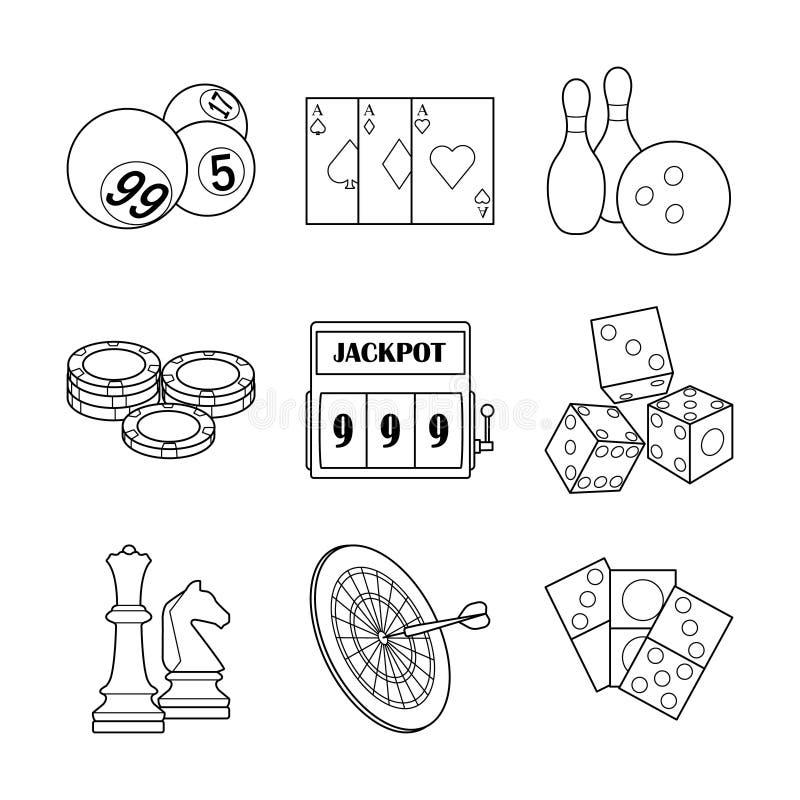 Casinò di vettore ed icone di gioco illustrazione di stock