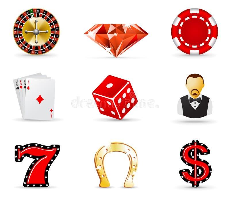 Casinò ed icone di gioco illustrazione di stock