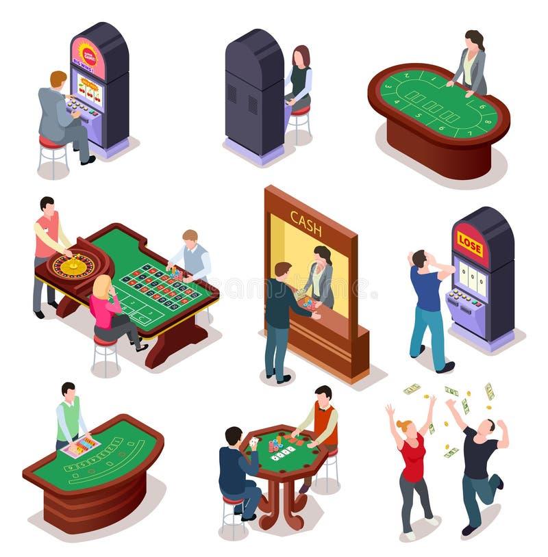 Casinò isometrico Tavola delle roulette del poker, slot machine nel gioco della stanza Casinò di spettacolo del night-club che gi royalty illustrazione gratis
