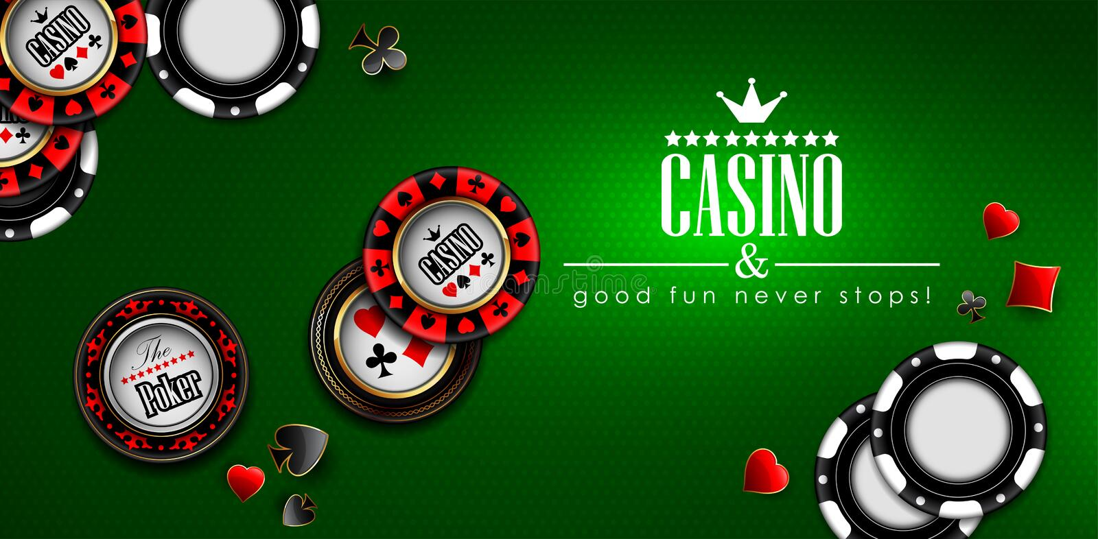 Casino advertising design with a playing chips.  Highly realistic illustration stock illustration