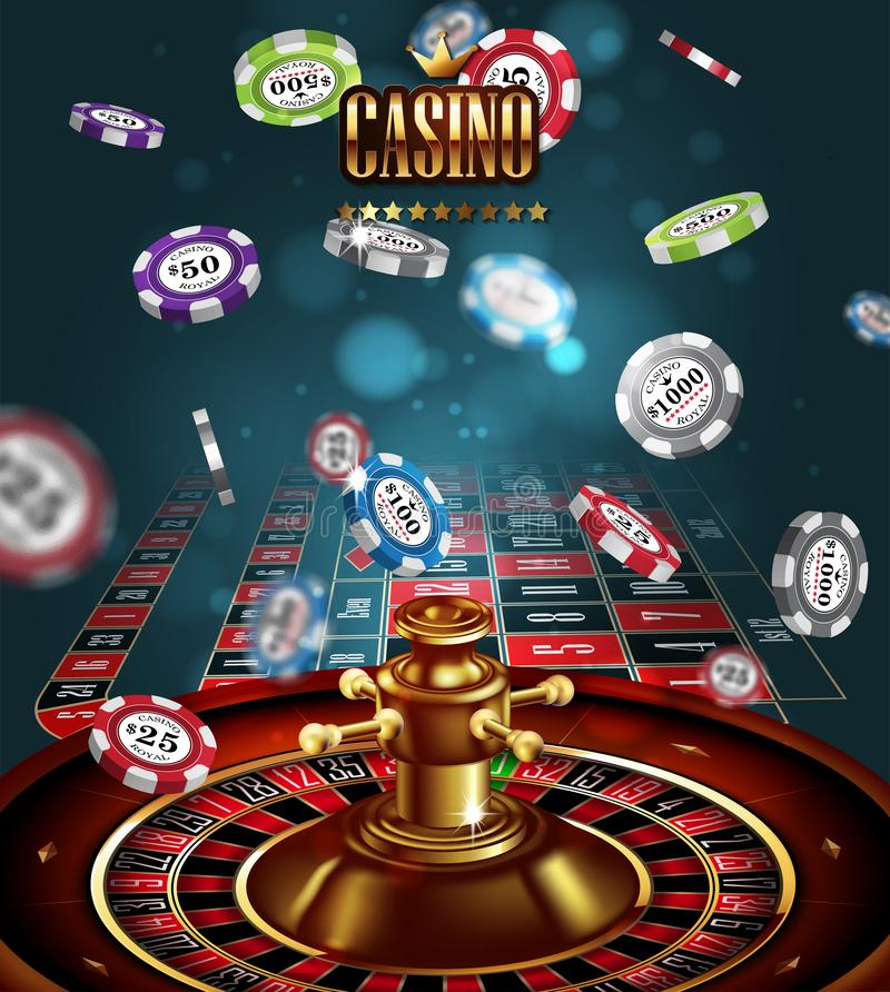 Casino advertising with roulette and elements of casino games on a blue background. 3D vector. High detailed realistic stock illustration