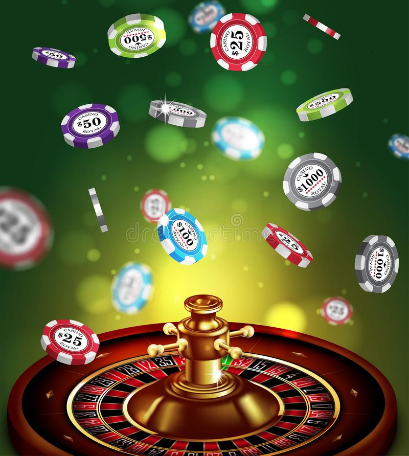 Casino advertising with roulette and elements of casino games on a green background. 3D vector. High detailed realistic vector illustration