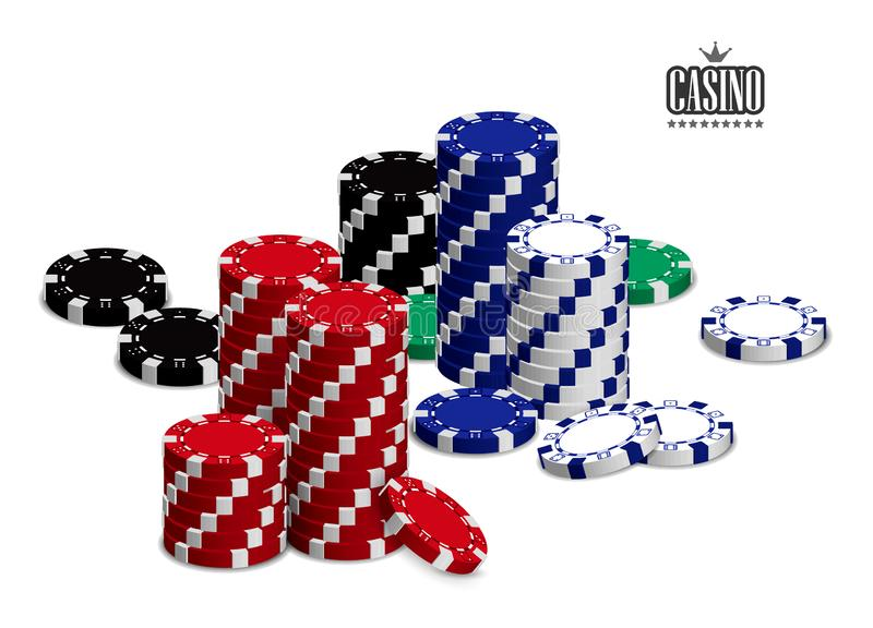 Casino advertising with a set of playing chips on a white background. 3D vector. High detailed realistic illustration vector illustration