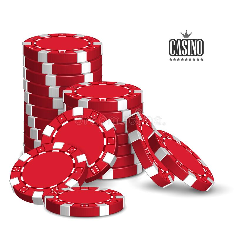 Casino advertising with a set of playing chips on a white background. 3D vector. High detailed realistic illustration stock illustration