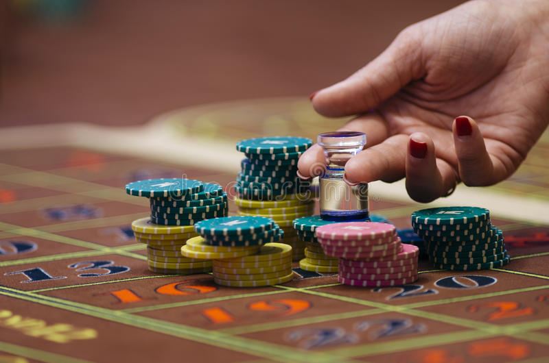 Casino. American Roulette gambling table stock photo