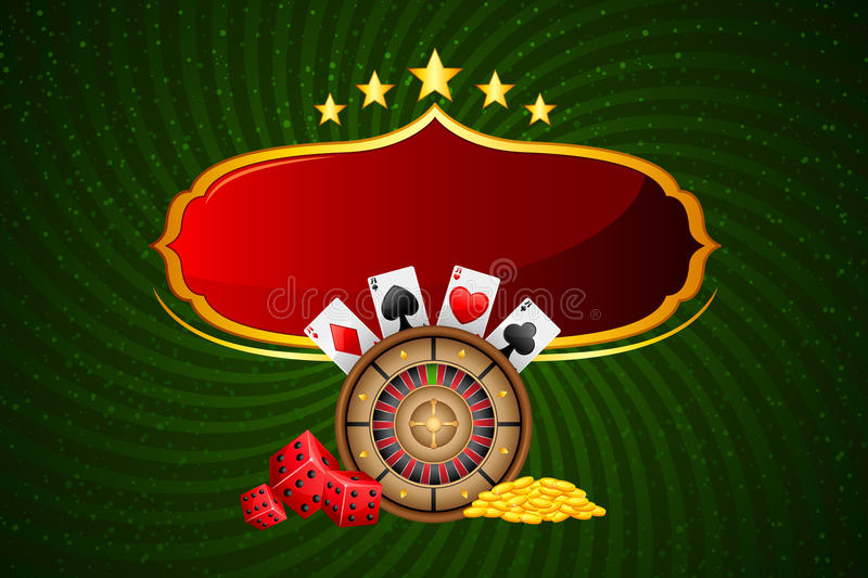 Casino Background. Illustration of casino board with roulette and coin royalty free illustration