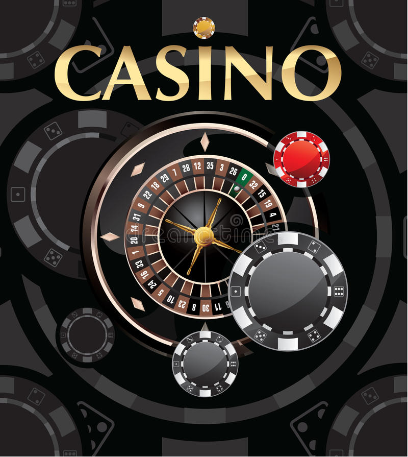 Casino background. Illustration of casino background with roulette wheel and chips royalty free illustration