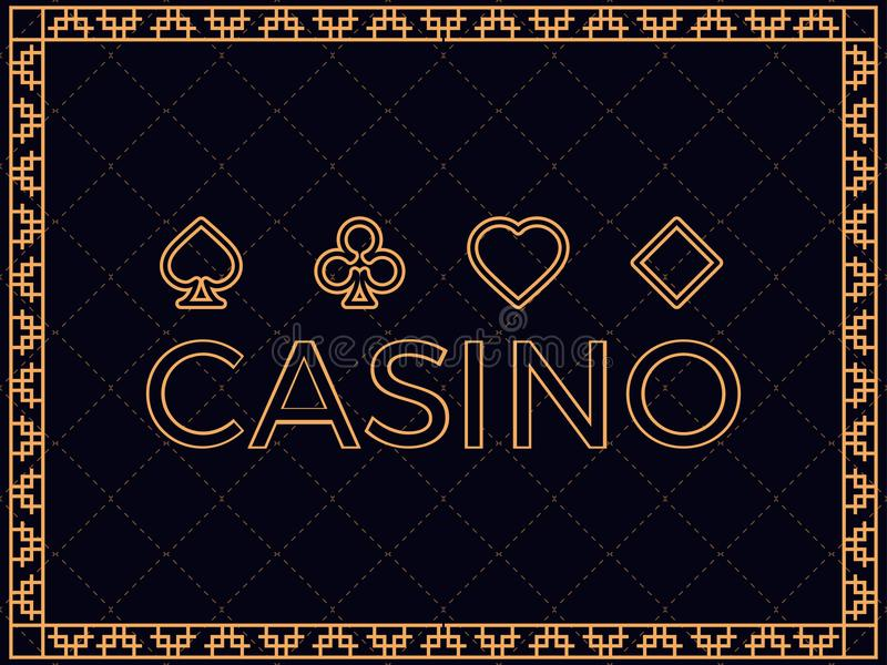 Casino background with art deco frame and card suits. Design a template for invitations, leaflets and greeting cards vector illustration