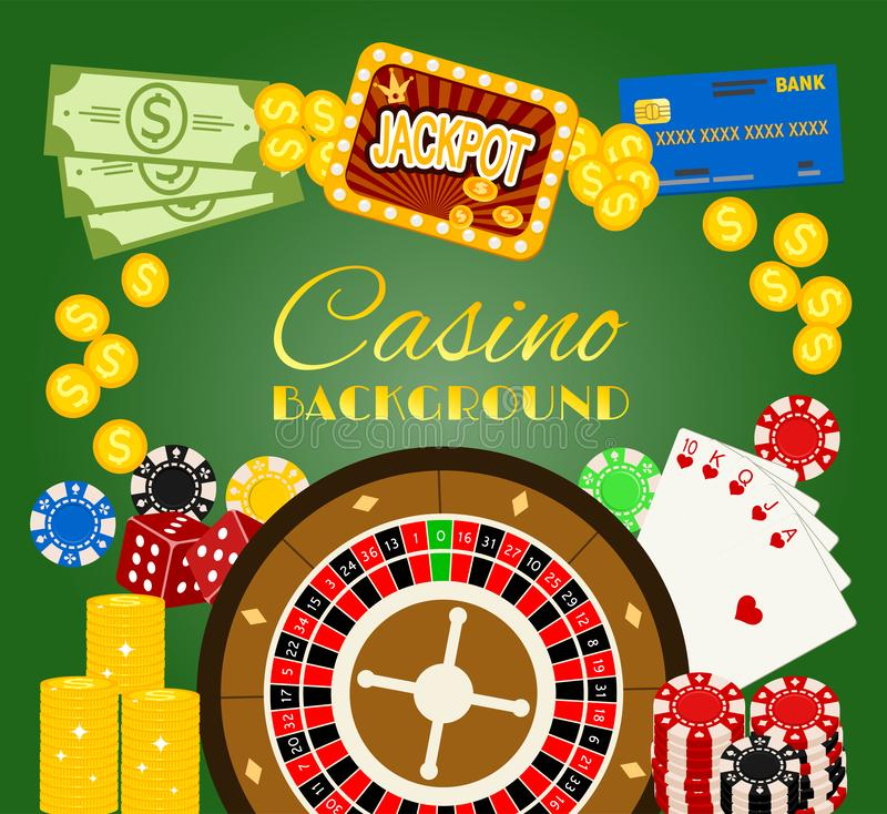Casino background banner vector illustration. Includes roulette, casino chips, playing cards, winning jackpot. Sack of. Money, credit card, dice, golden coins vector illustration