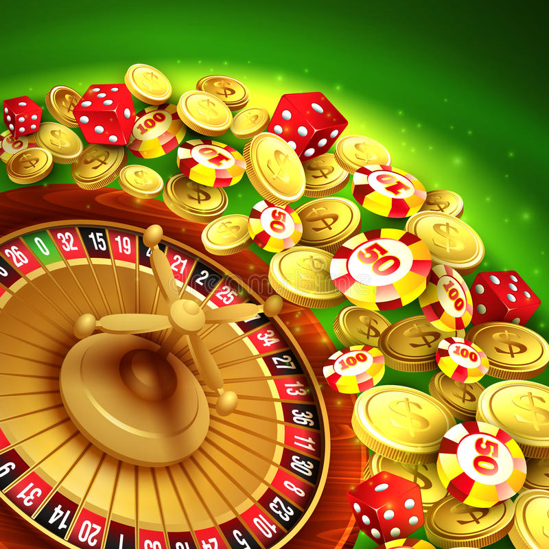 Casino background with chips, craps and roulette. Vector illustration EPS 10 royalty free illustration