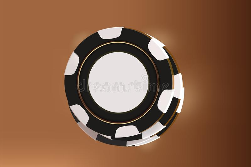 Casino background chips. Top view of black and white chips on gold background. Online casino table concept with place. For text on the chip mock up vector illustration