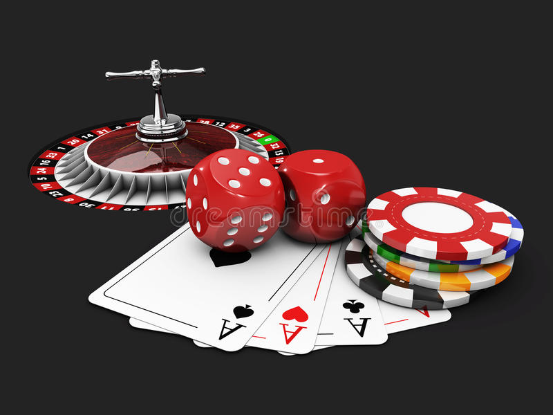 Casino background with dice, cards, roulette and chips. isolated Black, 3d Illustration. 3d illustration of Casino background with dice, cards, roulette and stock illustration