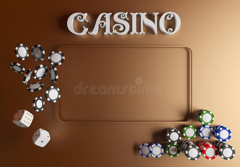 Casino background dice and chips. Online casino table concept with place for text. Top view of white dice and chips on. Green gold background. Casino sign. 3d royalty free illustration