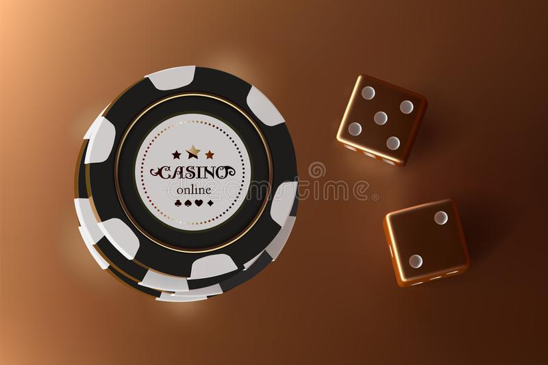 Casino background dice and chips. Top view of golden dice and chips on gold background. Online casino table concept with. Place for text on the chip vector illustration