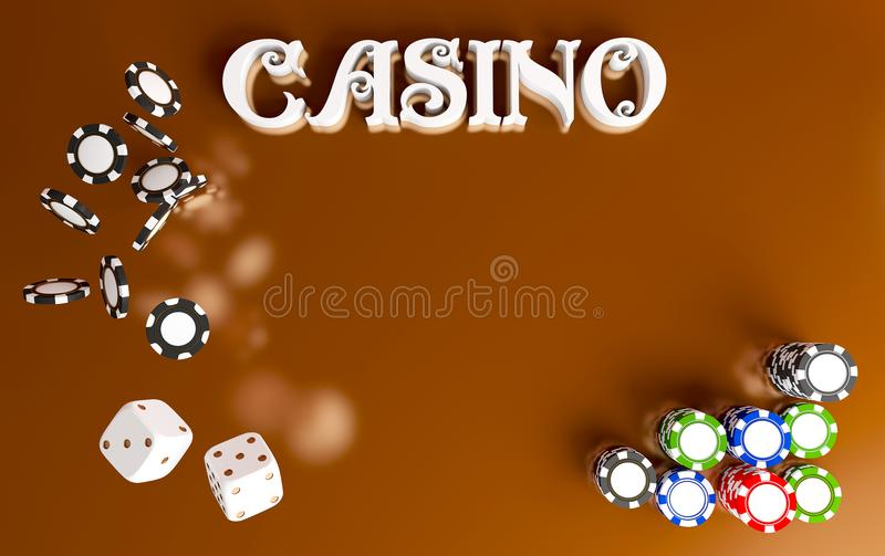 Casino background dice and chips. Top view of white dice and chips on red gold background. Online casino table concept. With place for text. Casino sign. 3d vector illustration