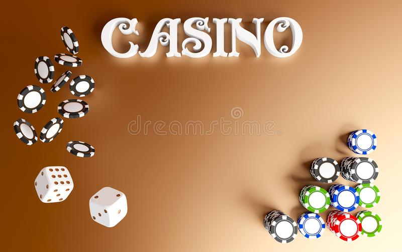 Casino background dice and chips. Top view of white dice and chips on red gold background. Online casino table concept. With place for text. Casino sign. 3d stock illustration