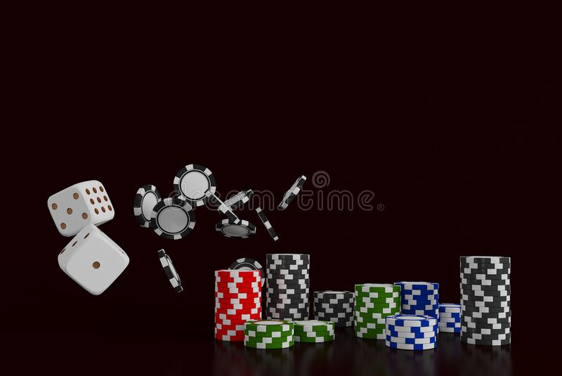 Casino background dice and chips. White dice and chips on black background. Online casino concept with place for text. 3d rendering royalty free illustration