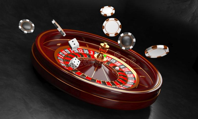 Casino background. Luxury Casino roulette wheel on black background. Casino theme. Close-up white casino roulette with a stock illustration