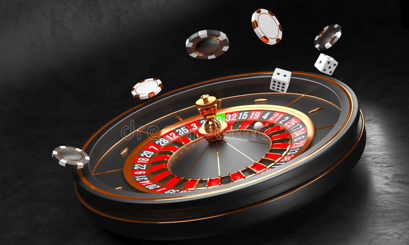 Casino background. Luxury Casino roulette wheel on black background. Casino theme. Close-up white casino roulette with a. Ball, chips and dice. Poker game table vector illustration
