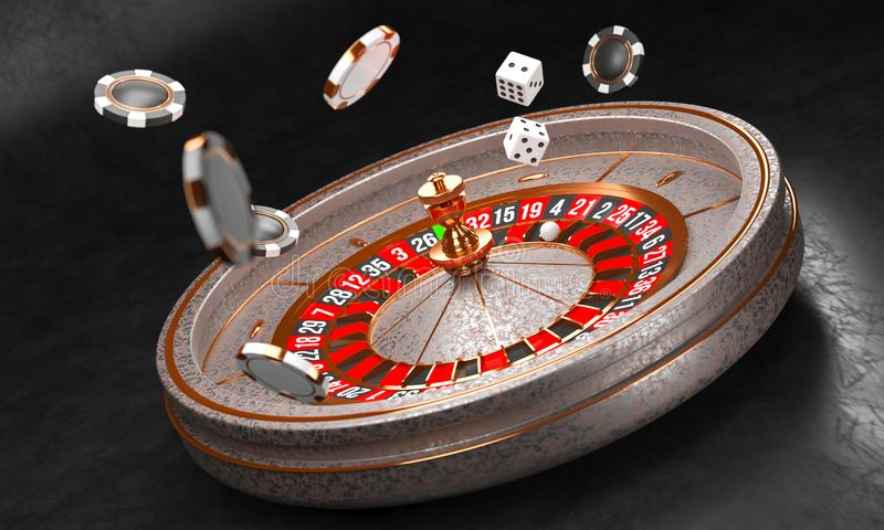 Casino background. Luxury Casino roulette wheel on black background. Casino theme. Close-up white casino roulette with a stock illustration