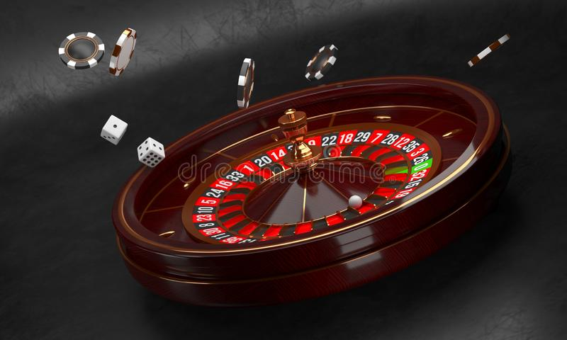 Casino background. Luxury Casino roulette wheel on black background. Casino theme. Close-up wooden casino roulette with royalty free illustration